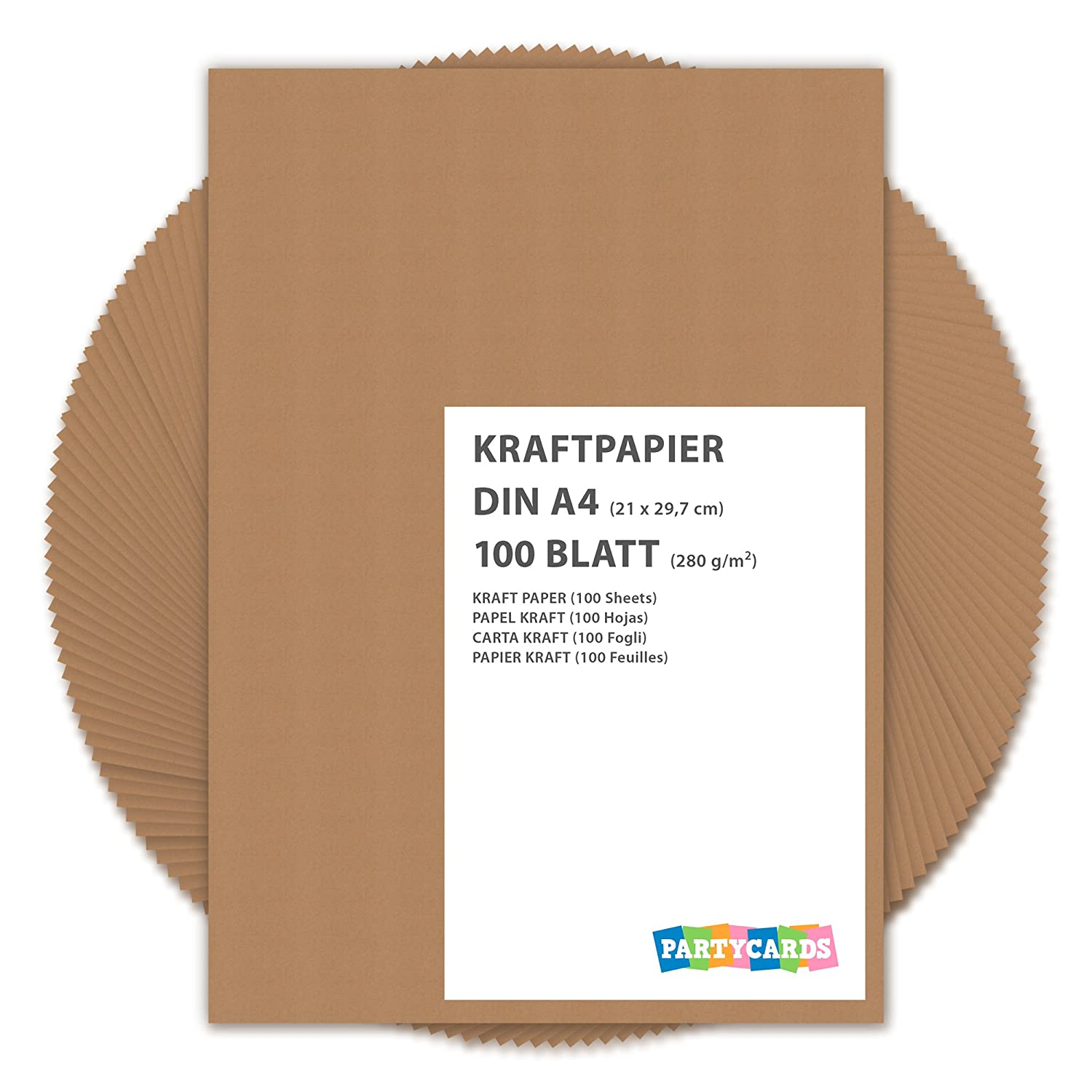 100 Sheets of Kraft Paper / Card A4 280g/m² Quality Cardboard Ideal for Craft and DIY / Brown Partycards KP-100/2017