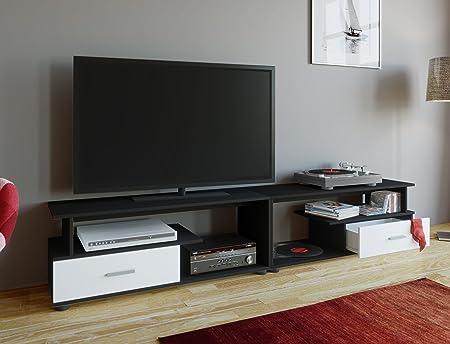 VCM Rimini Maxi – Mueble TV, Madera, Negro/Blanco, 43 x 220 x 40 cm: Amazon.es: Hogar