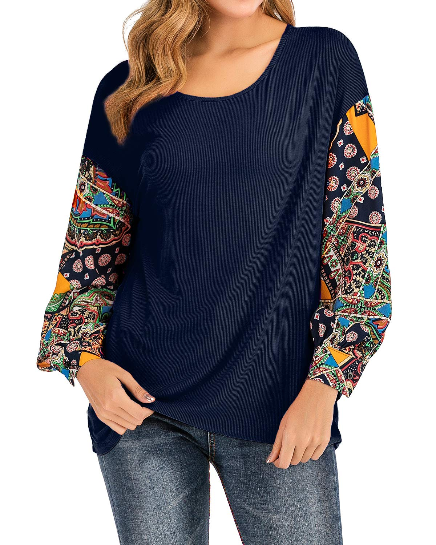 LeMarnia Navy Shirt Women, Ladies Crewneck Puff Sleeve Patchwork Tops Floral Print Casual Knit Loose Pullover Sweatshirts Boho Cute Tunics Blue M