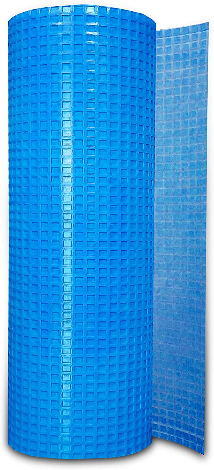 Uncoupling Membrane (3.3 ft x 53.5 ft) underlayment 175 Square Feet, Tile Underlayment Mat, Waterproofing, Anti-Fracture, Crack Isolation Membrane (1/8 inch Thick) Blue