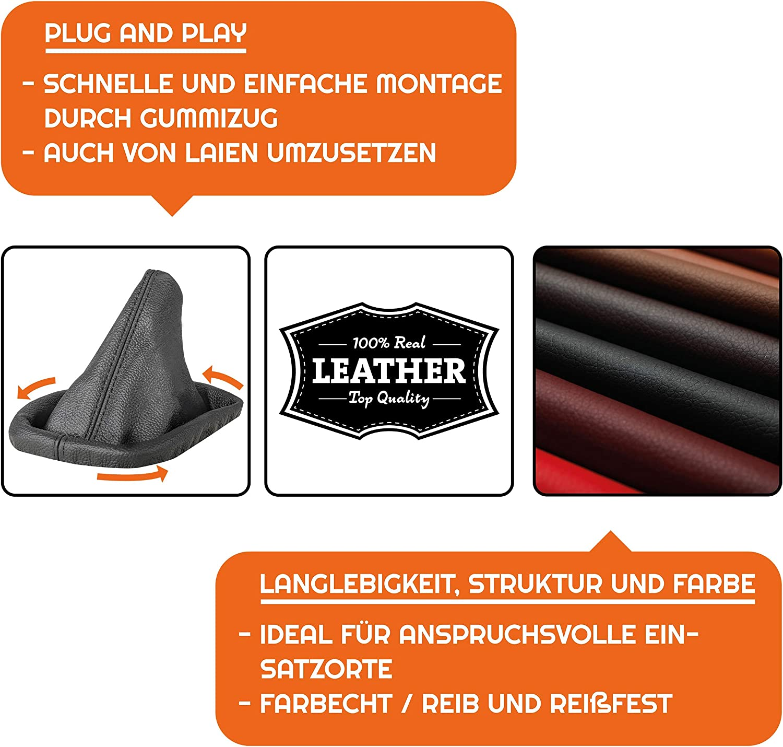 L P Car Design Schaltsack Schaltmanschette Kompatibel Mit Bmw 3er E30 E36 5er E34 100 Echtleder Leder Naht Schwarz Auto