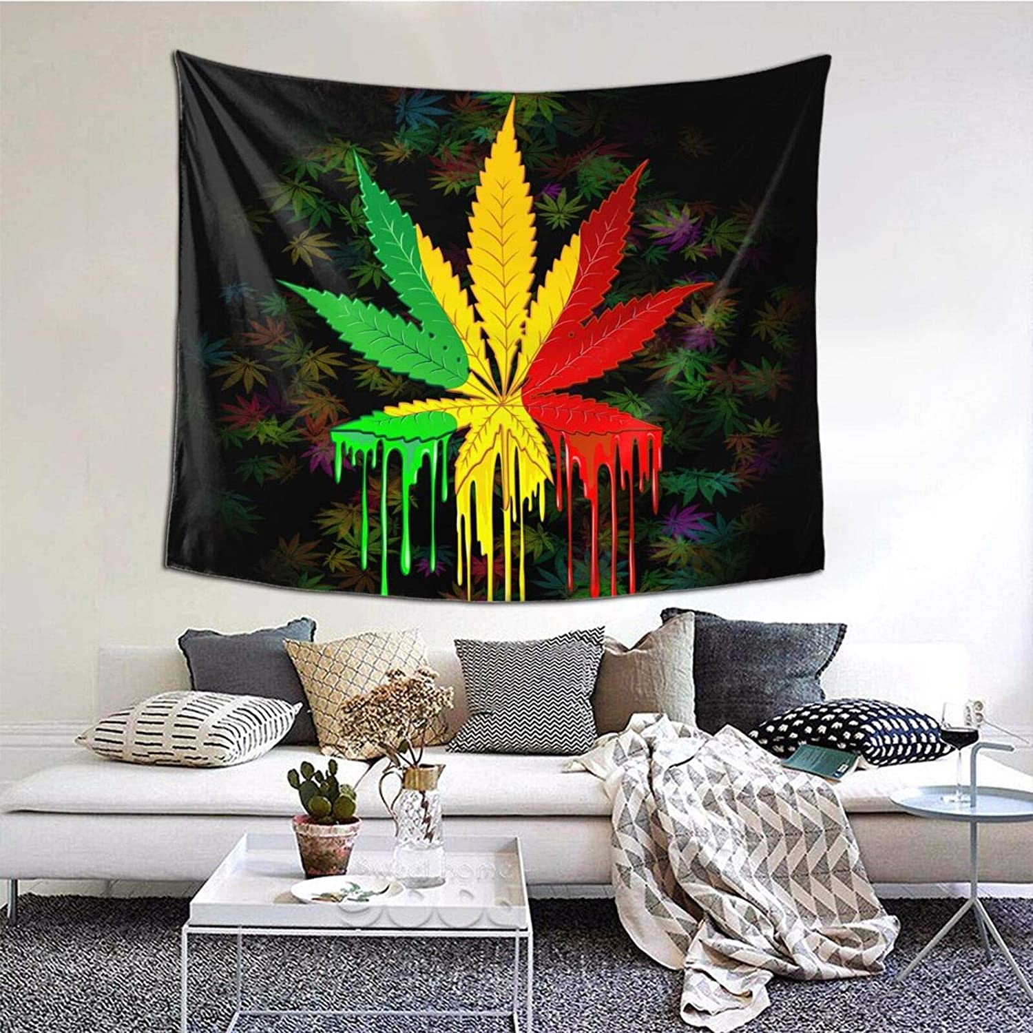 Marijuana Leaf Tapestry, Weed Psychedelic Tapestry Wall Hanging for Bedroom, Reggae Rasta Tie Dye Jamaica Tapestry Trippy Mexico Red Yellow Green Home Decor, 50X60 inches
