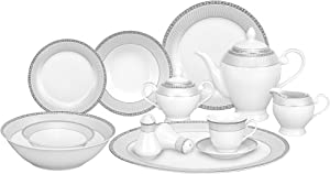 Lorren Home Trends 57-Piece Porcelain Dinnerware Set, Alina-SL, Service for 8