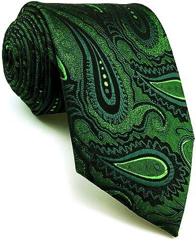 Green Geometric Pattern Ties for Men Multicolor Mens Neckties Extra Long