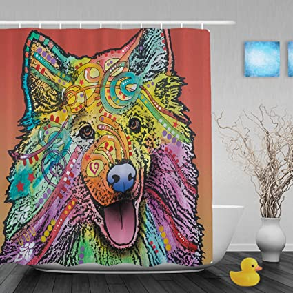 CafeTime Cute Pet Dog Cat Chow Shower Curtains Colorful Art Animals Designed Bathroom