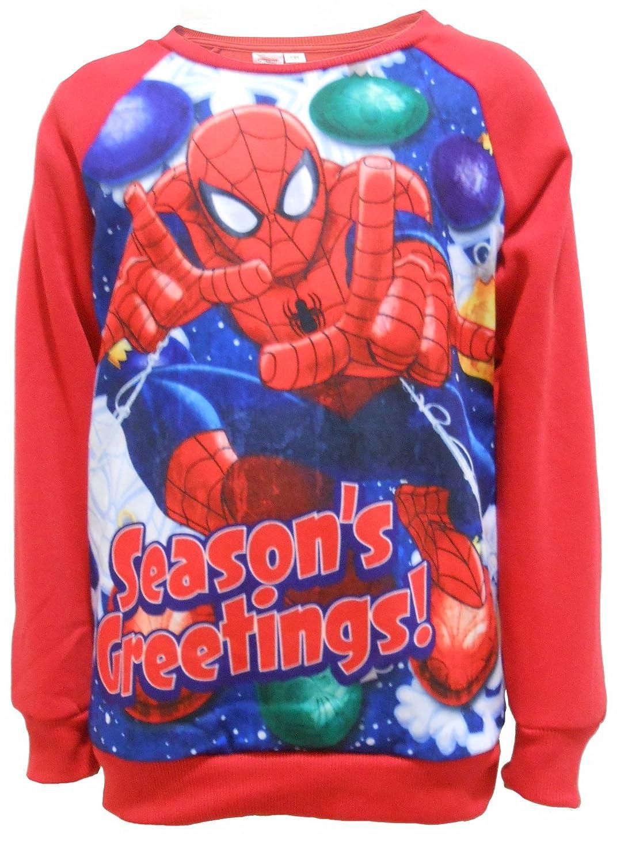 Boys Official Marvel Spiderman Festive Seasons Greetings Christmas Sweater Jumper