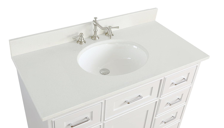 Aria 42-inch Bathroom Vanity (Quartz/White): Includes a White ...
