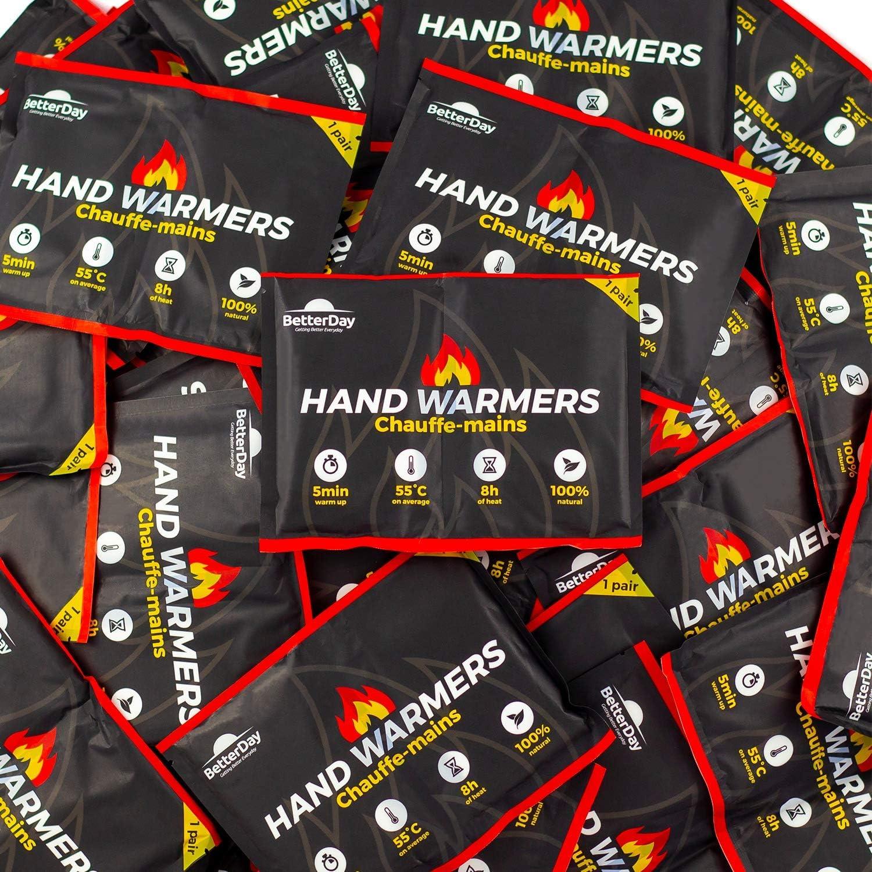 BetterDay® Calentadores de Manos Premium con Cubiertas 100% Natural - 80 Calentadores de Bolsillo (40 Pares) hasta 62°C hasta 10 Horas - Calentadores Activados por Aire - Calentador de Mano