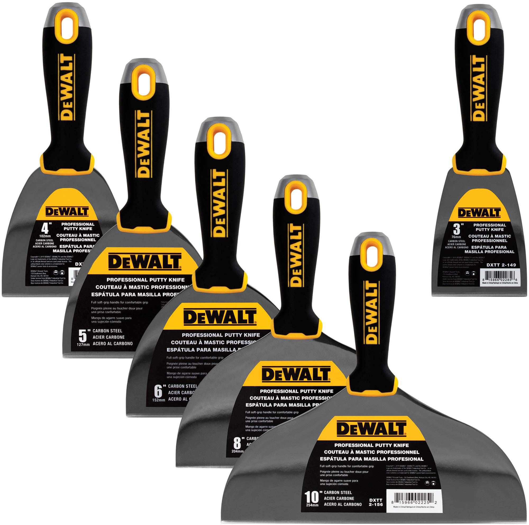 DEWALT DELUXE Carbon Steel Putty Knife Set | 4/5/6/8/10-Inch + 3-Inch Included for FREE | Soft Grip Handles | DXTT-3-149 by DEWALT