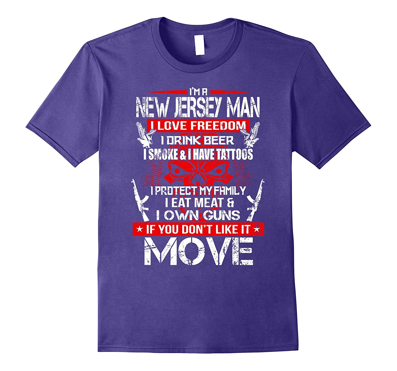 New Jersey Man I Love Freedom Smoke and Guns Shirt-Vaci