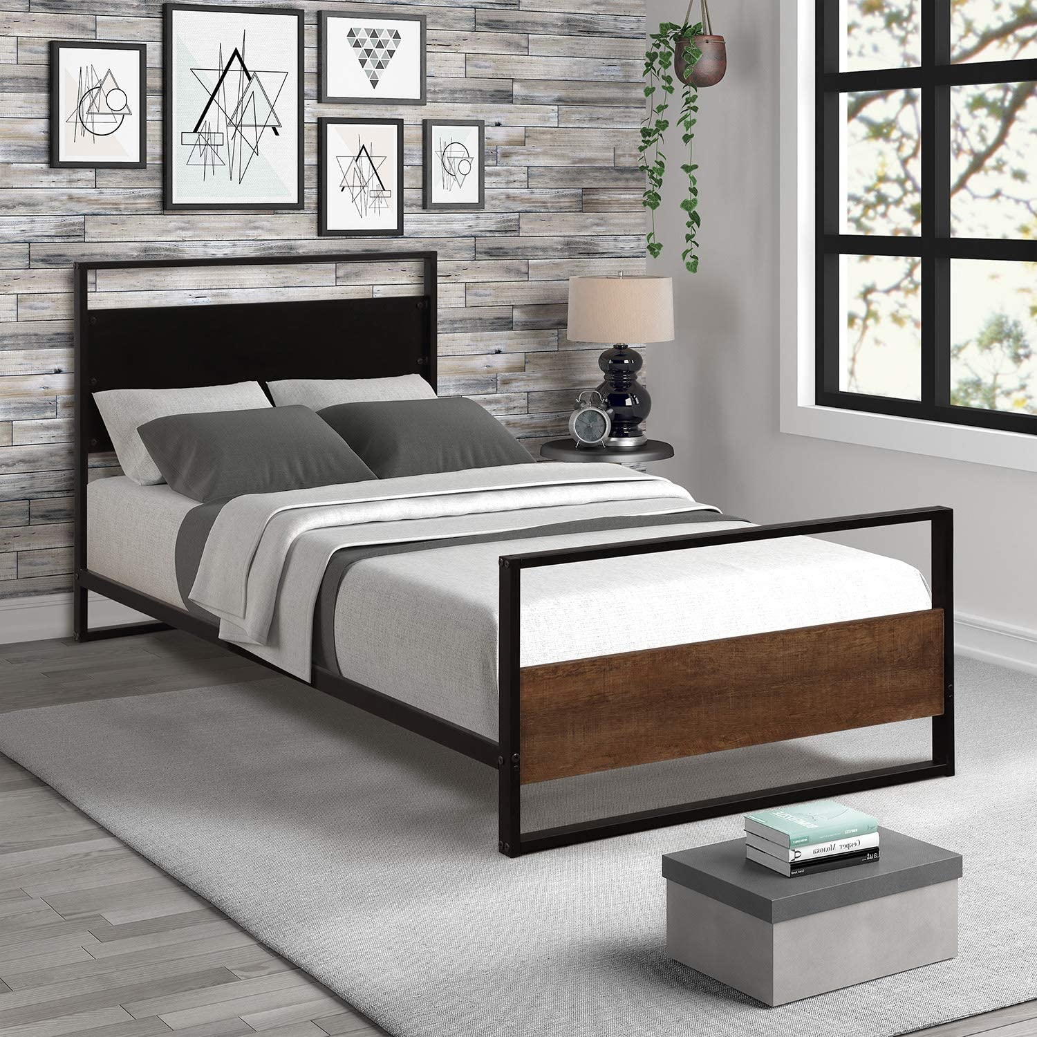 G-house Platform Bed Frame Metal and Wood with Headboard, Strong Slat Support No Box Spring Needed Twin
