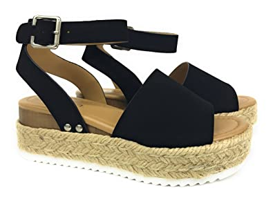 a9fa27f5b18d Womens Topic Casual Espadrilles Trim Rubber Sole Flatform Studded Wedge  Nubuck Buckle Ankle Strap Open Toe