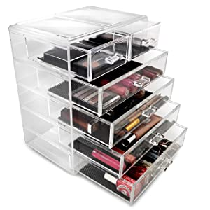 Sorbus Cosmetics Makeup and Jewelry Big Storage Case Display - Stylish Vanity, Bathroom Case (4 Large, 2 Small Drawers, Clear)