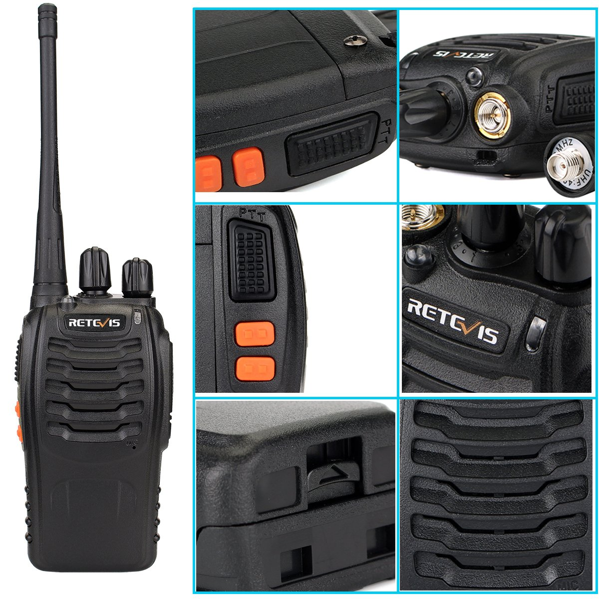 Retevis H-777 Two Way Radio UHF 400-470MHz Signal Frequency Single Band 16 CH Walkie Talkies with Original Earpiece (10 Pack) by Retevis (Image #4)
