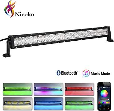 Nicoko 32 180w Straight offroad led light bar with Chasing RGB Halo 10 solid colors over 72 modes Backlighting Decoration Driving working Lights Fog Lamp Suv Ute Atv Truck 4x4 Boat wiring harness