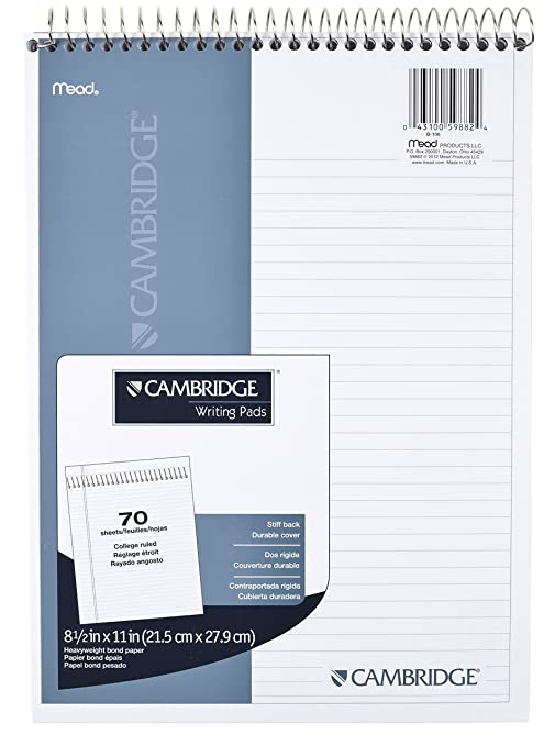 Amazon.com : Mead Cambridge Notebook, Wirebound NotePad, Stiff ...