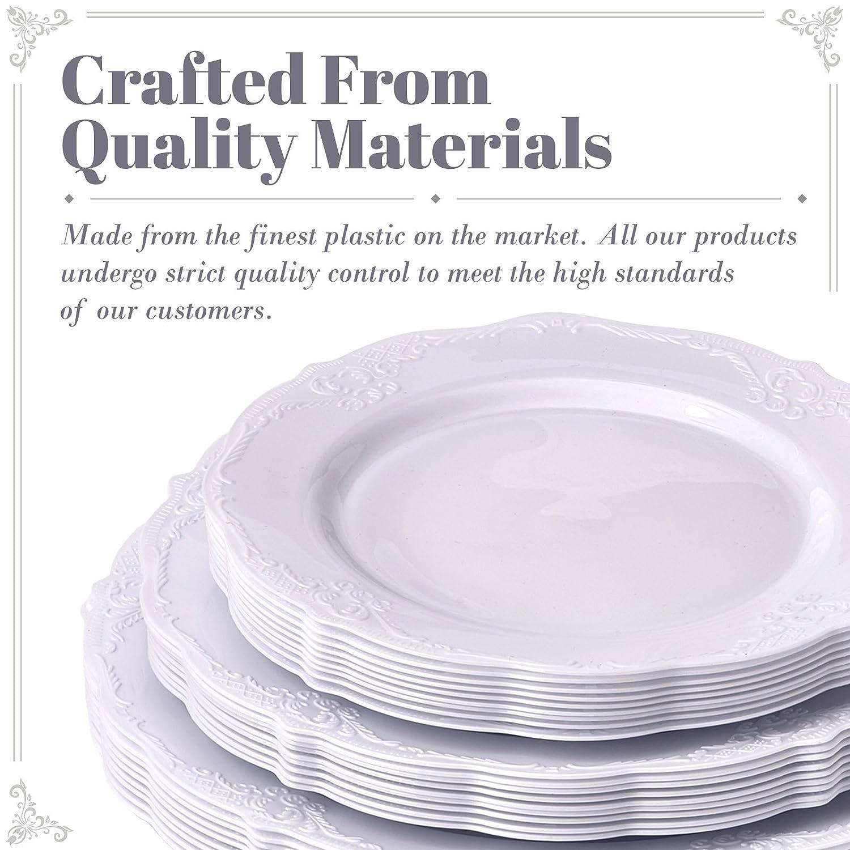 ... 10 platos de ensalada, 10 platos de postre, platos de plástico pesados, elegante aspecto de porcelana fina, para boda y comedor: Amazon.es: Hogar