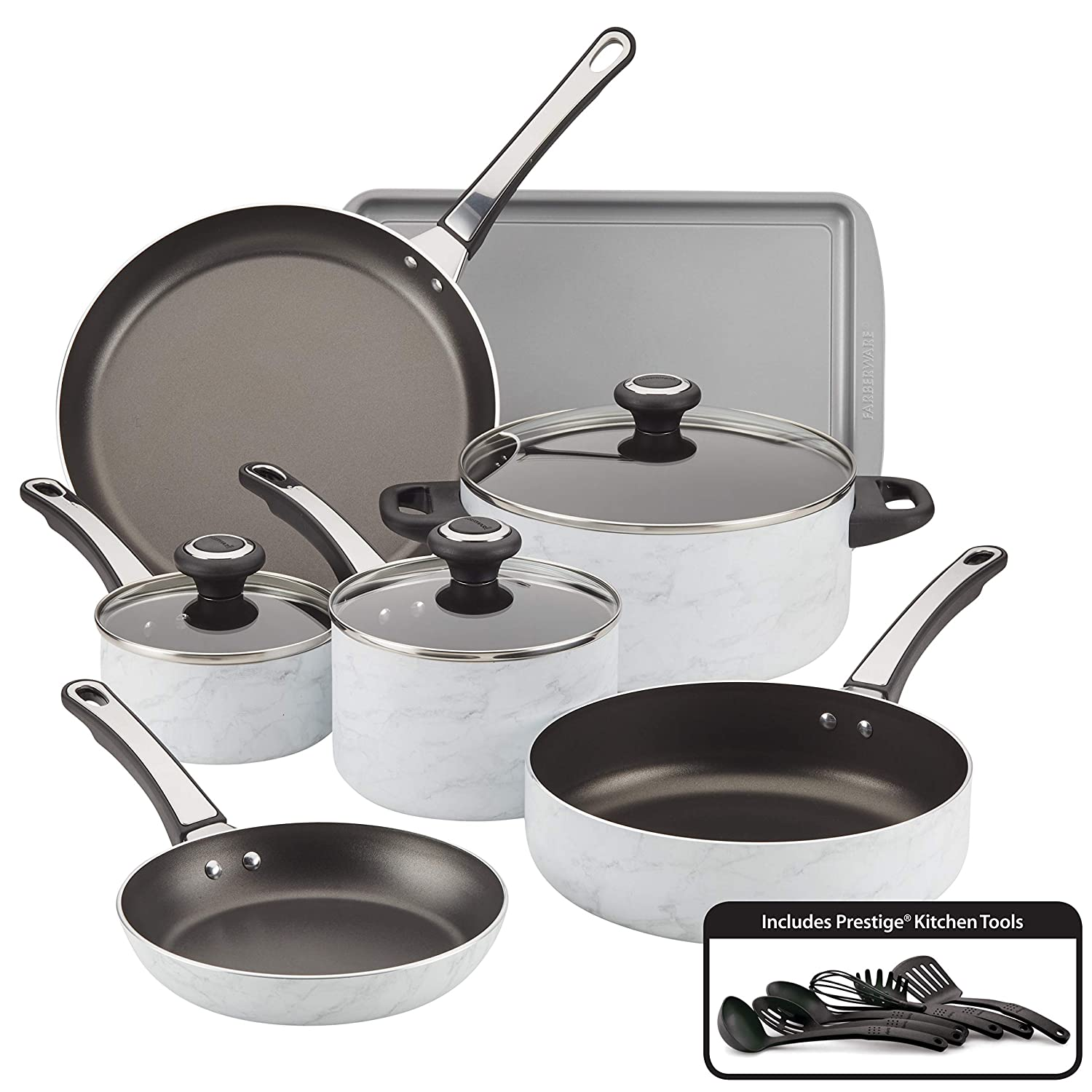 Farberware 22258 16-Piece Aluminum Cookware Set, White Marble