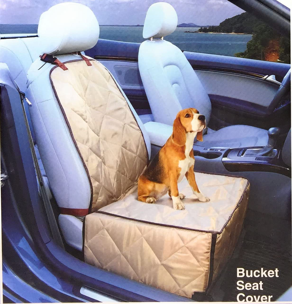Dog Car Seat Cover – 2 in 1 Bucket Seat Cover and Car Pet Seat – with Seat Anchor Strap and Dog Leash Connector