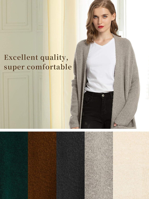 Woolen Bloom Women Knitted Long Open Front Drape Cardigans Lightweight Fall Cardigan for Women Loose with Pocket