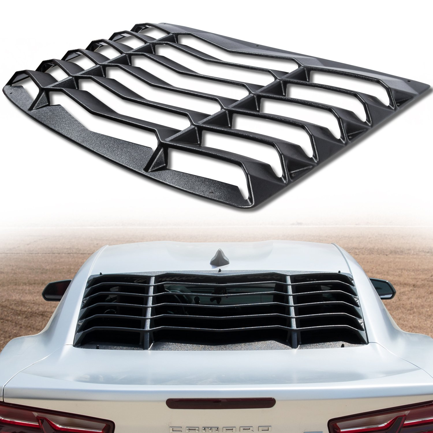 Rear Window Louver Sun Shade Cover Matte Black Lambo Style for Chevy Chevrolet Camaro 2016 2017 2018 2019 wen wen top