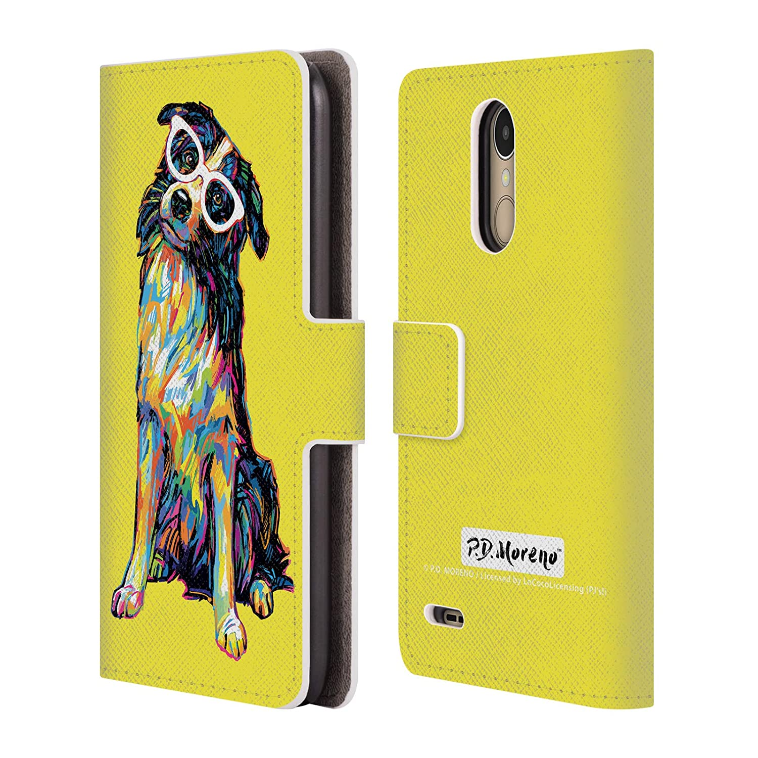 Official P.D. Moreno Border Collie Dogs Leather Book Wallet Case Cover Compatible for LG K10 (2017) / K20 Plus