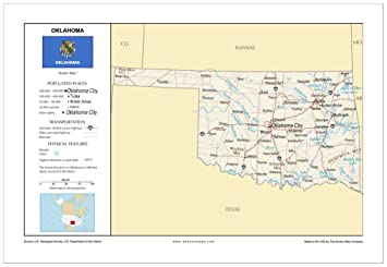 Amazon.com : 13x19 Oklahoma General Reference Wall Map - Anchor Maps ...