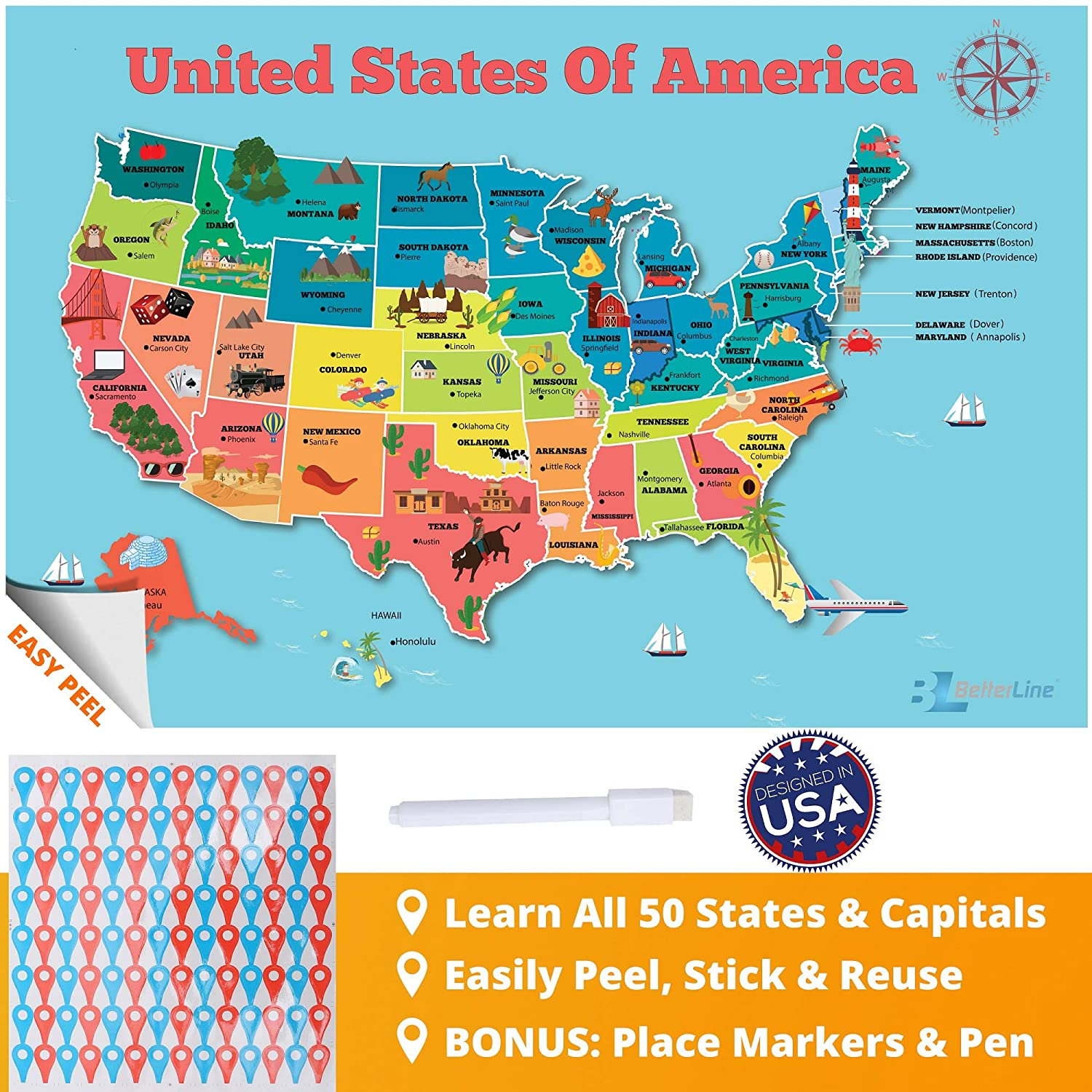 Amazon.com: BETTERLINE USA Map Poster Sticker for Kids Room Wall ...
