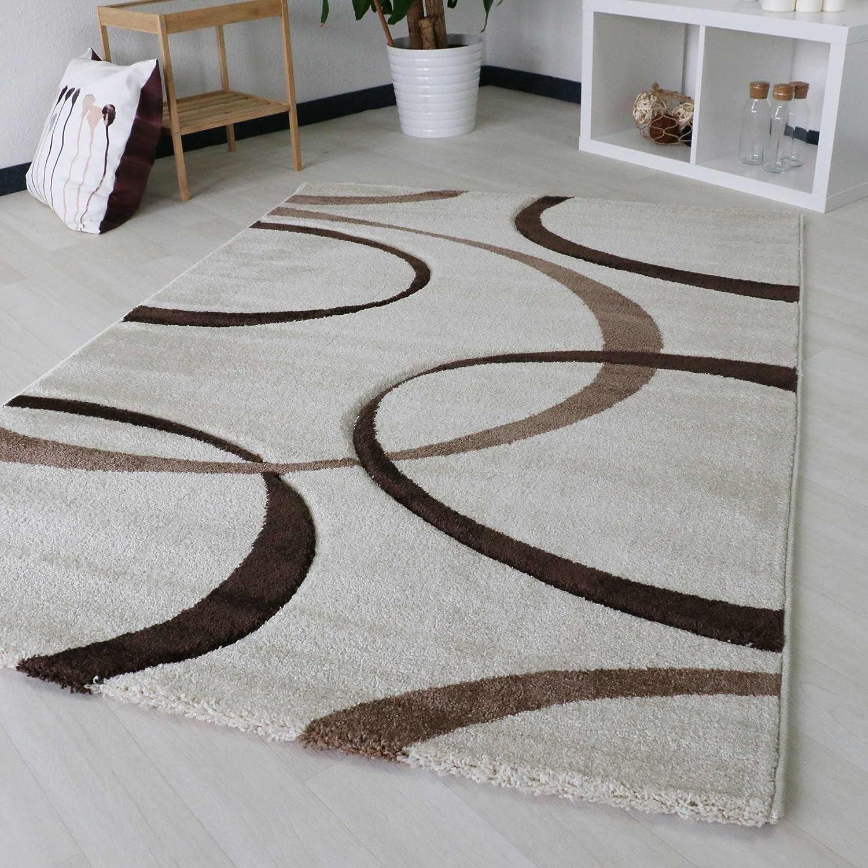 Designer Teppich Modern für Wohnzimmer in Beige Creme Weiß Top-Design Webteppich, 3.100gr m² Qualitativ dichte Webung mit Öko-Tex (120cm x 170cm)