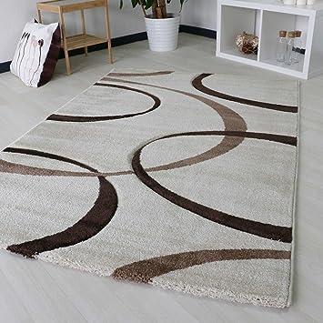Amazon.de: Designer Teppich Modern für Wohnzimmer in Beige ...