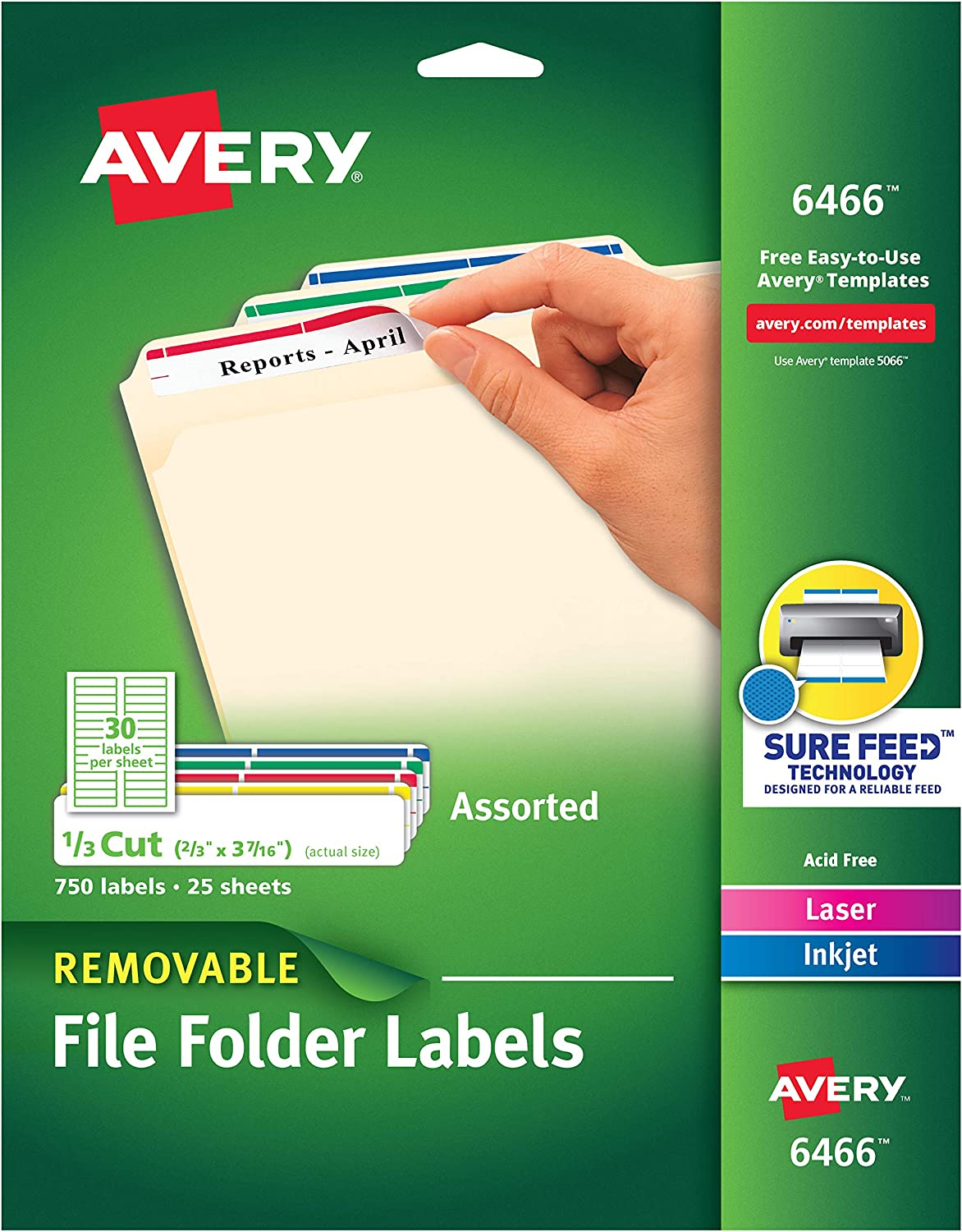 Avery Removable 2/3 x 3 7/16 File Folder Labels 750 Pack (6466) : Office Products