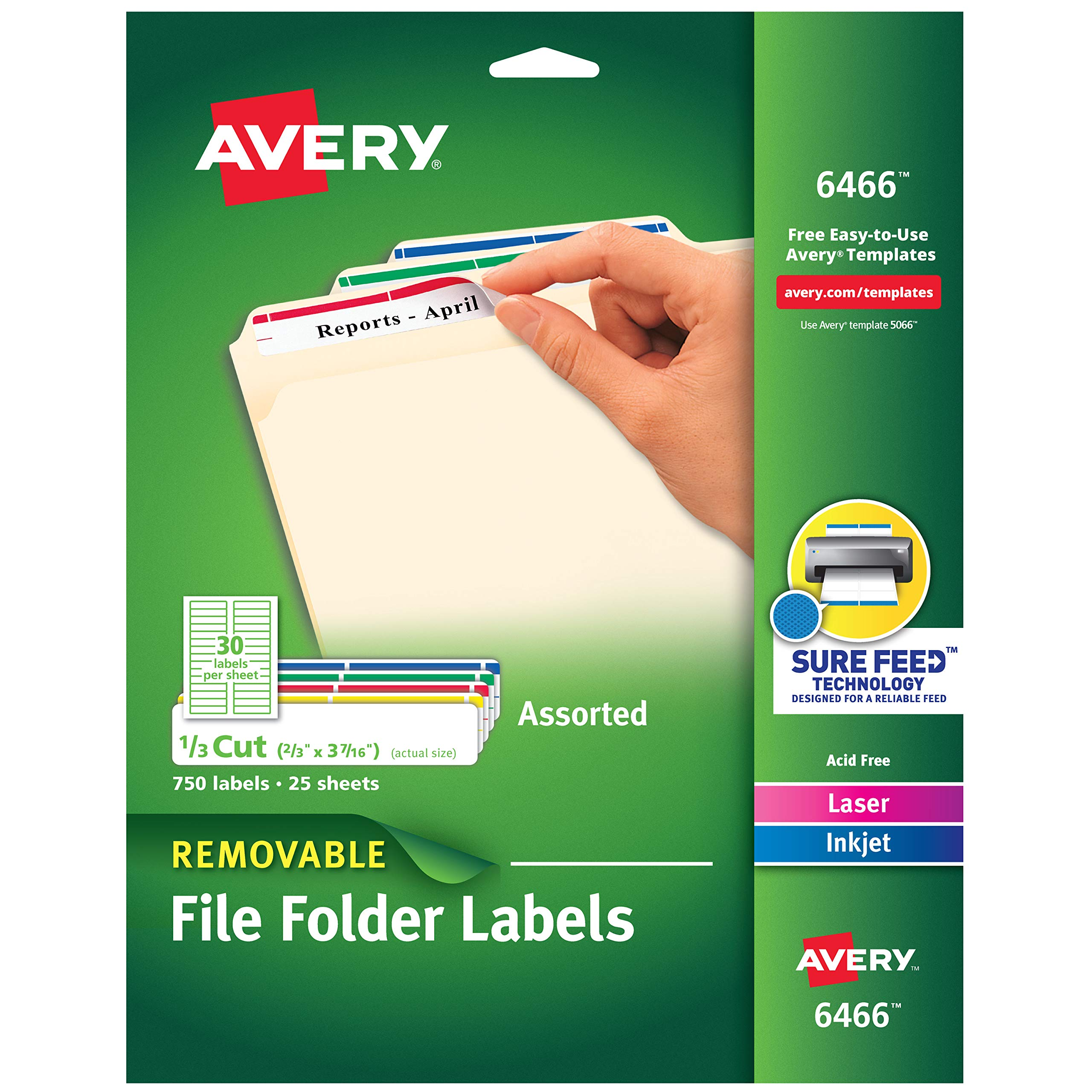 Avery Removable 2/3 x 3 7/16 File Folder Labels 750 Pack (6466) by AVERY