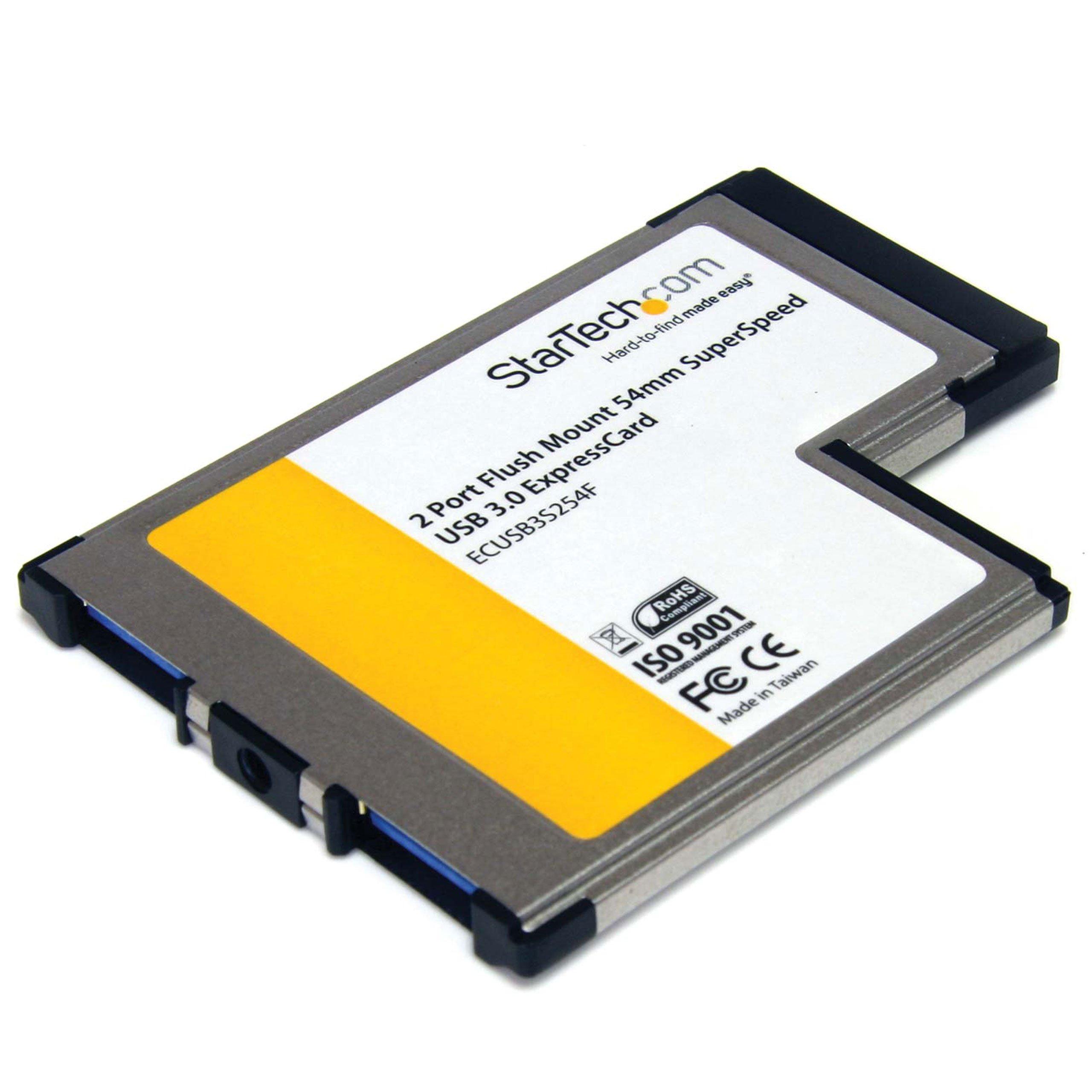 StarTech.com 2-Port Flush Mount ExpressCard 54mm SuperSpeed USB 3.0 Card Adapter (ECUSB3S254F) by StarTech