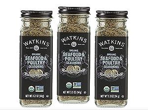 Watkins Gourmet Organic Spice Jar, Seafood & Poultry Seasoning, Jar 3.3 Ounce (Pack of 3)
