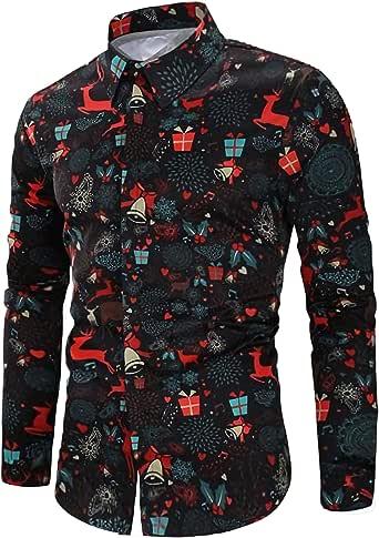 RAISEVERN Camisas de Navidad Estampadas Divertidas para Hombre Cuello Abotonado Tops de Manga Larga Camisa de Disfraces Hawaiana de Navidad para la Fiesta del Festival Ropa Informal: Amazon.es: Ropa y accesorios