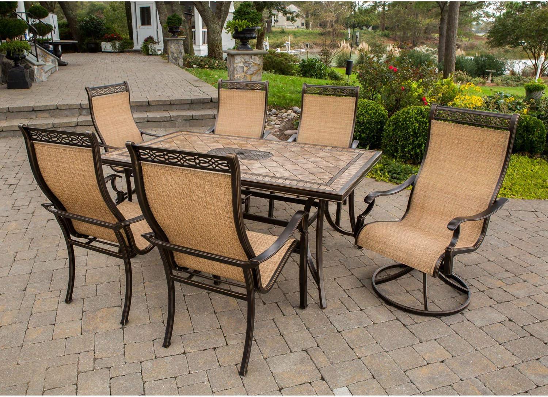 Amazon Com Hanover Monaco7pcsw Monaco 7 Piece Rust Free Aluminum Outdoor Patio Dining Set Wit Porcelain Metallic Garden Outdoor