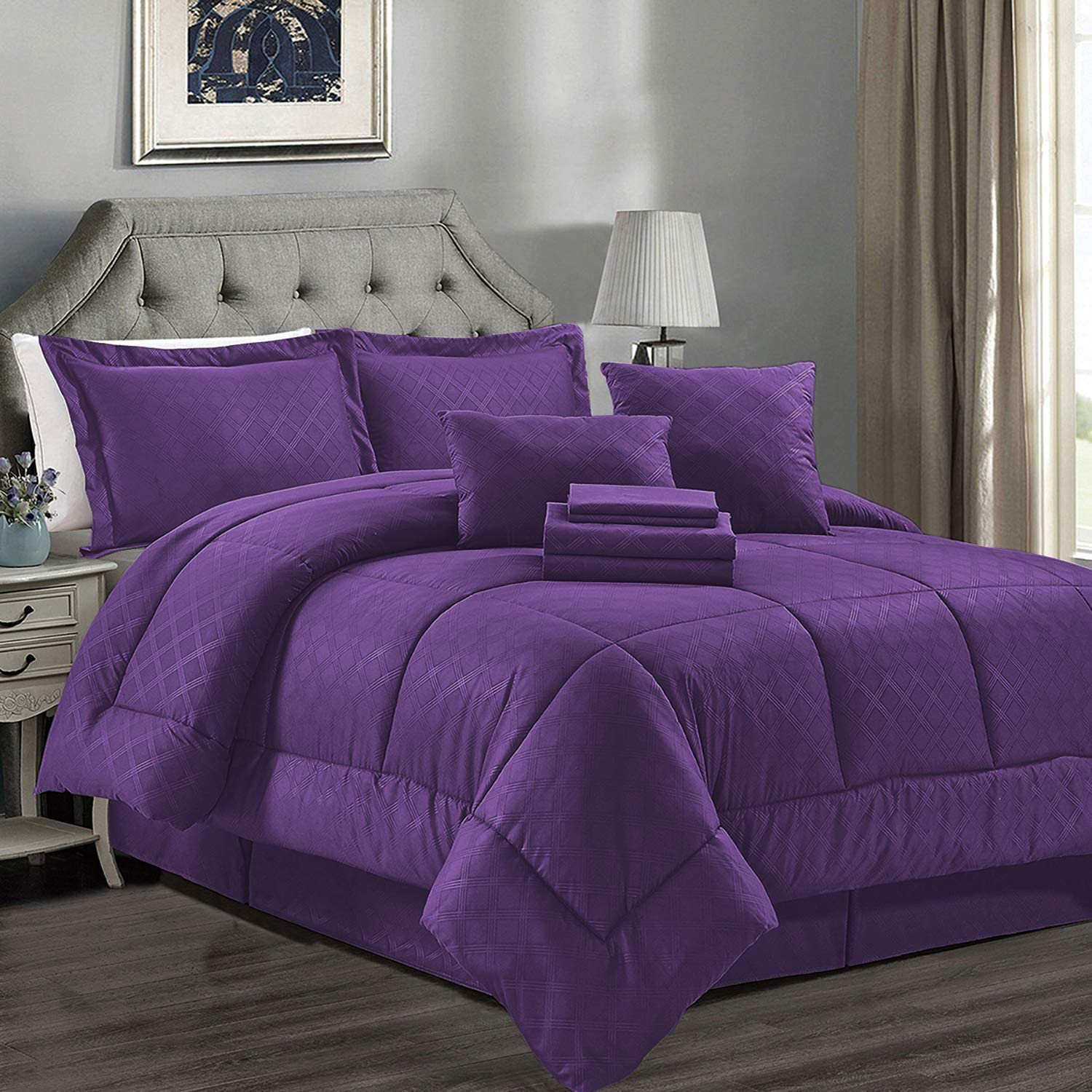 JML Comforter Set, Microfiber Bedding Comforter Sets with Shams - Luxury Solid Color Quilted Embroidered Pattern, Perfect for Any Bed Room or Guest Room (Purple, Twin)