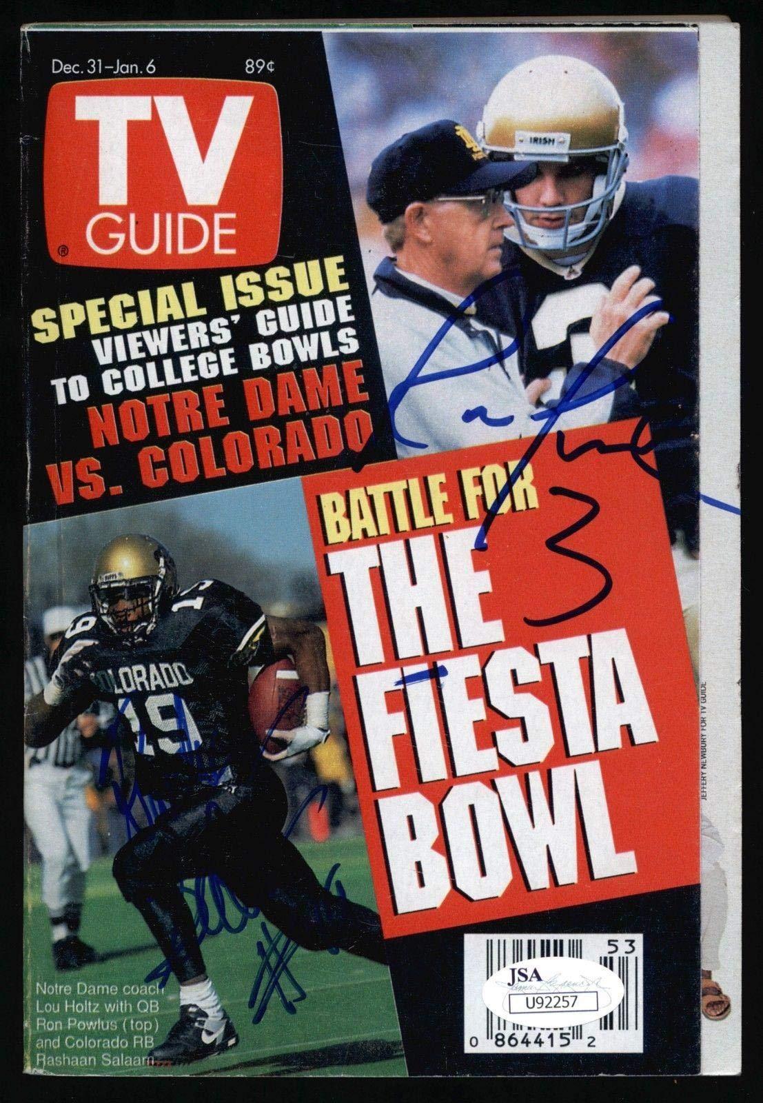 Ron Powlus Notre Dame/Rashaan Salaam Colorado Signed 1995 TV Guide COA JSA Certified Autographed College Magazines