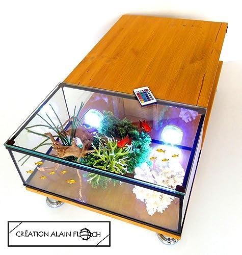 Table Basse Aquarium Annarousse 20 Led Design Unique Alain