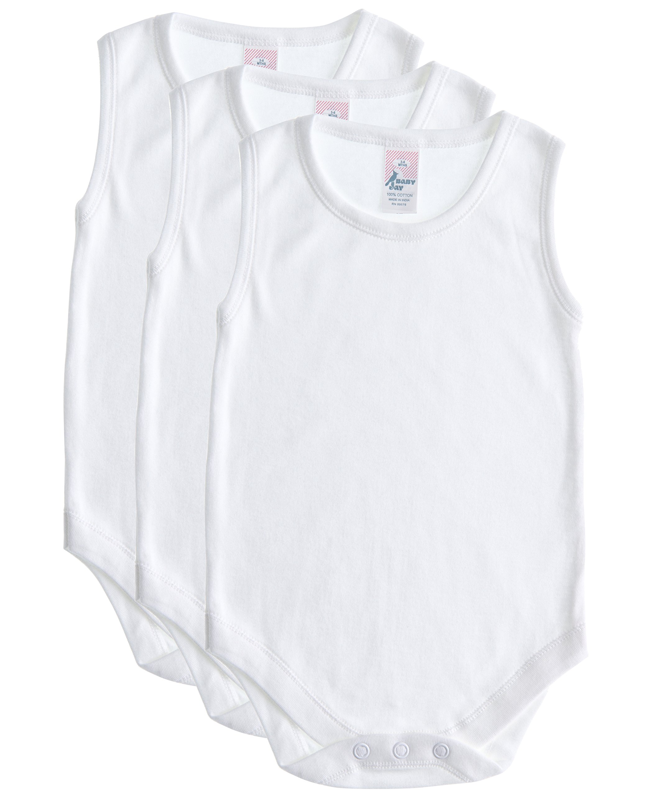 Soft Cotton Sleeveless Onesie Bodysuit, WSNR 18-24 3-Pack,White,18-24 Months (2T)