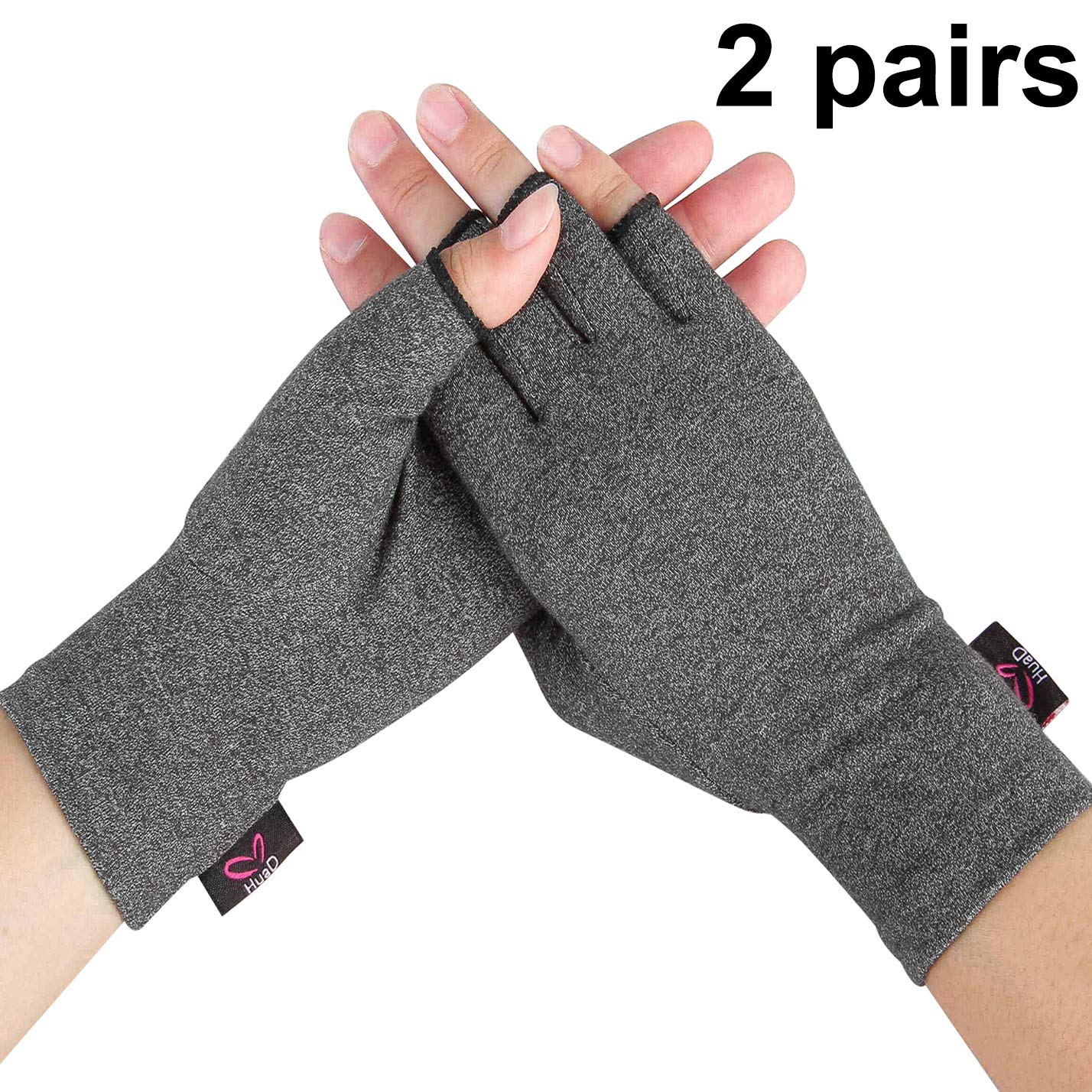 2 Pairs - Compression Arthritis Gloves for Women and Men, Fingerless Design to Relieve Pain from Rheumatoid Arthritis and Osteoarthritis (Grey, Medium)