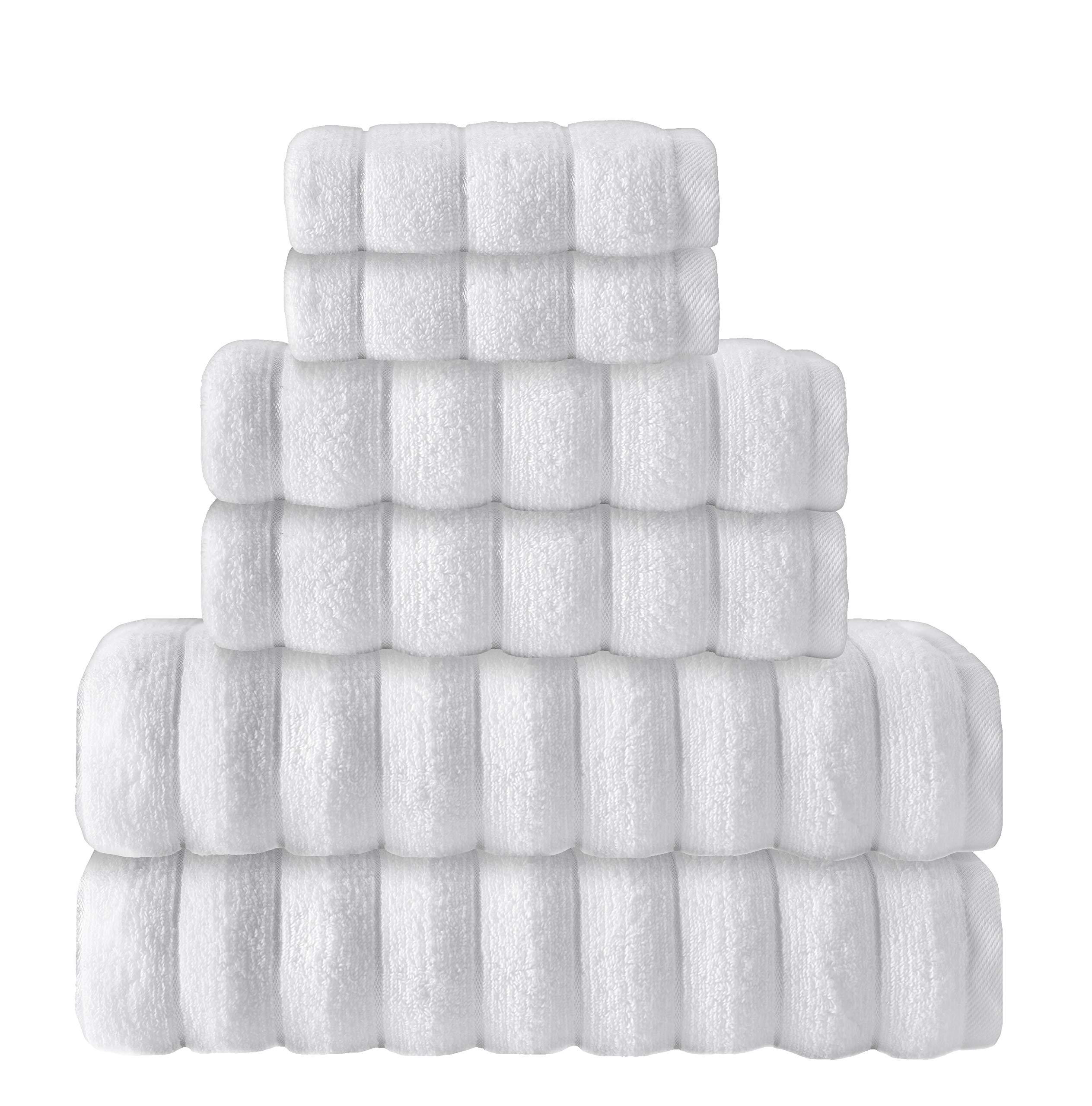 Enchante Home 6 Piece 100% Turkish Cotton Luxury Towel Set for Home & Spa - Quality Soft & Absorbent - Hand, Wash & Bath Towels, Jacquard, Vague Design (White)