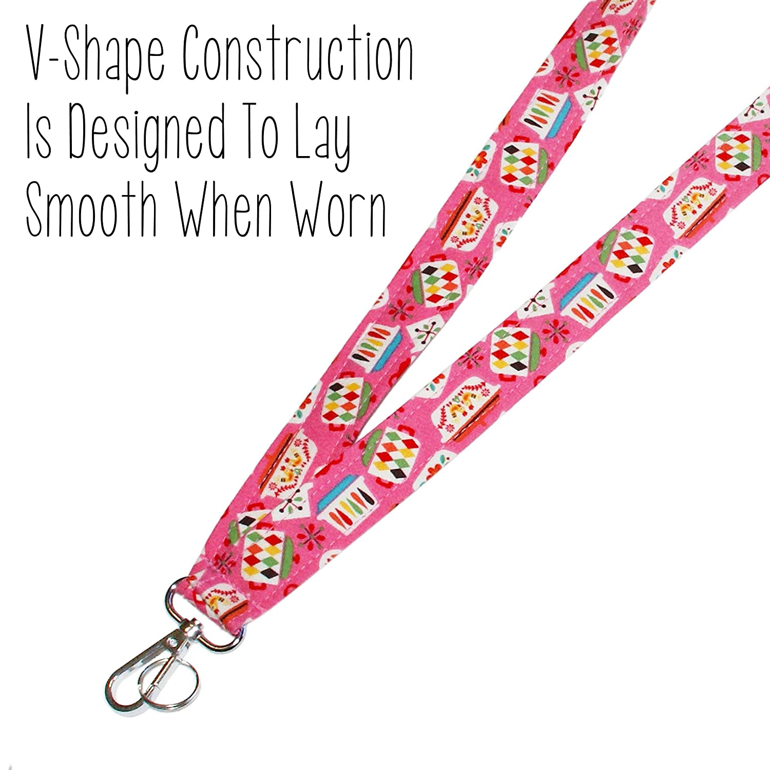 Vintage Dishes Lanyard Key Lanyard ID Badge Holder Retro Kitchen Lanyard Pink Pyrex Neck Strap 1 x 36 Inch With Swivel Clip Gift For Cook or Chef