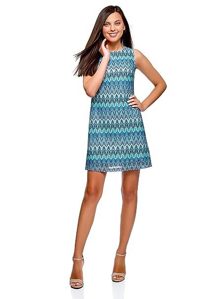 oodji Ultra Mujer Vestido de Tejido Texturizado con Decoración Étnica, Azul, ES 36/