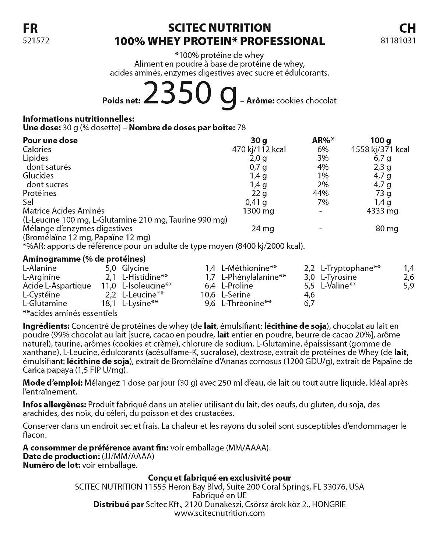 Scitec Whey Protein Profesional 2350 g Vainilla: Amazon.es: Alimentación y bebidas