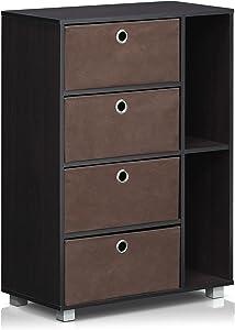 Furinno Andrey Multipurpose Storage Cabinet, Dark Walnut