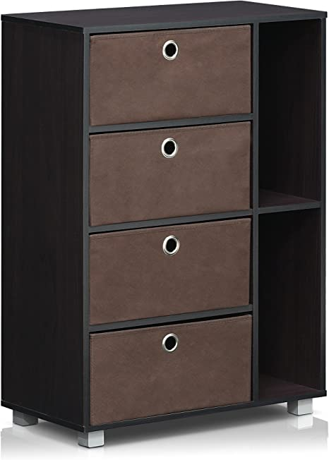 Furinno Andrey Multipurpose Storage Cabinet with Bin Drawers Steam Beech//Black