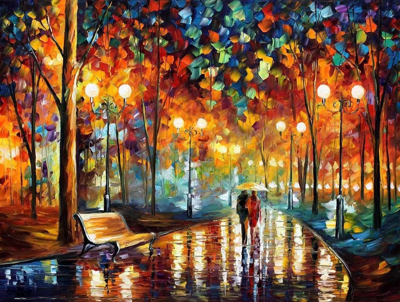 Tonzom Paint By Number Kits 16 x 20 inch Canvas Diy Oil Painting for Kids, Students, Adults Beginner with Brushes and Acrylic Pigment - Our Romance under Umbrella (Without Frame)