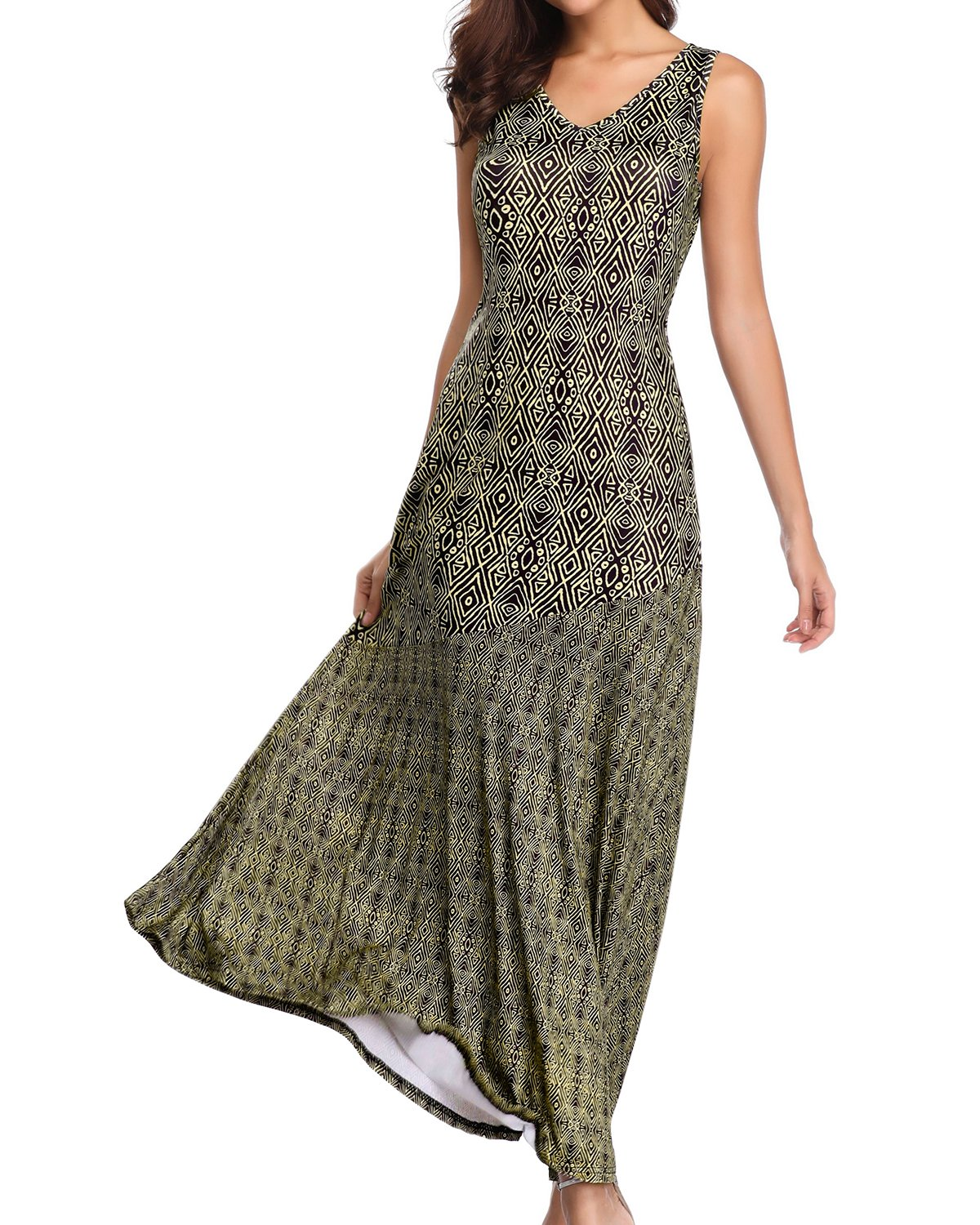 Jacansi Women Sleeveless Round Neck Geometric Print Tunic Loose Long Maxi Dress Brown L