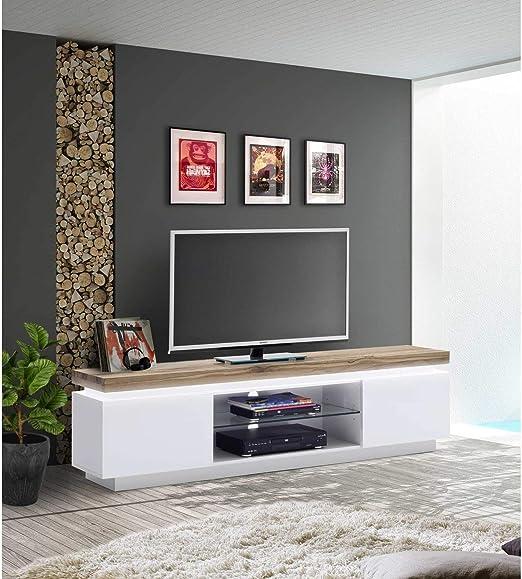 JUSTyou24 justyou Beatriz I LOWBOARD Tarjeta de TV Mesa de Televisión (Medidas: 49 x 175 x 40 cm Blanco Mate, Roble: Amazon.es: Juguetes y juegos